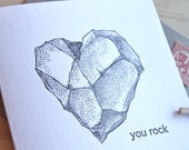 Letterpress,  Father's Day, Mother's Day, Valentine's Day, Male card,You rock - all occasion, heart  rock, black & white made in Australia