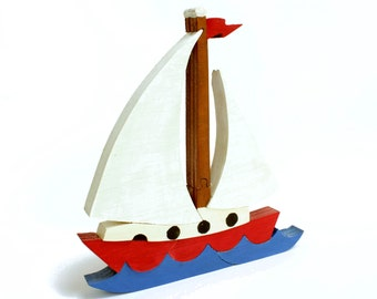 Sailboat Decor, Beach Theme Nursery, Wood Toy