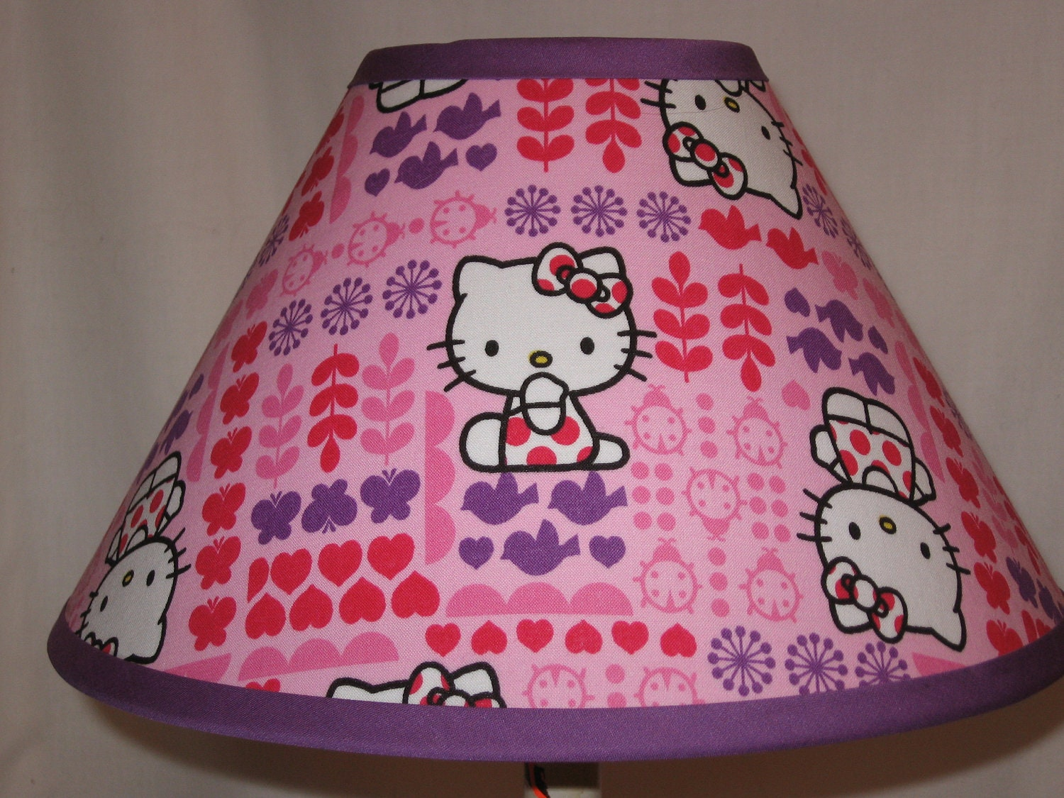 purple hello kitty fabric lamp shade. Black Bedroom Furniture Sets. Home Design Ideas