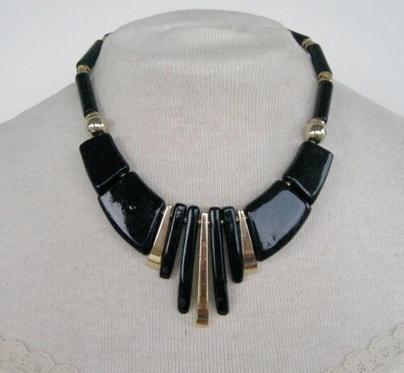 Vintage 70s Boho Tribal Signed Japan Goldtone Gold Tone Black Ceramic Geometric Bib Style Princess Length Necklace