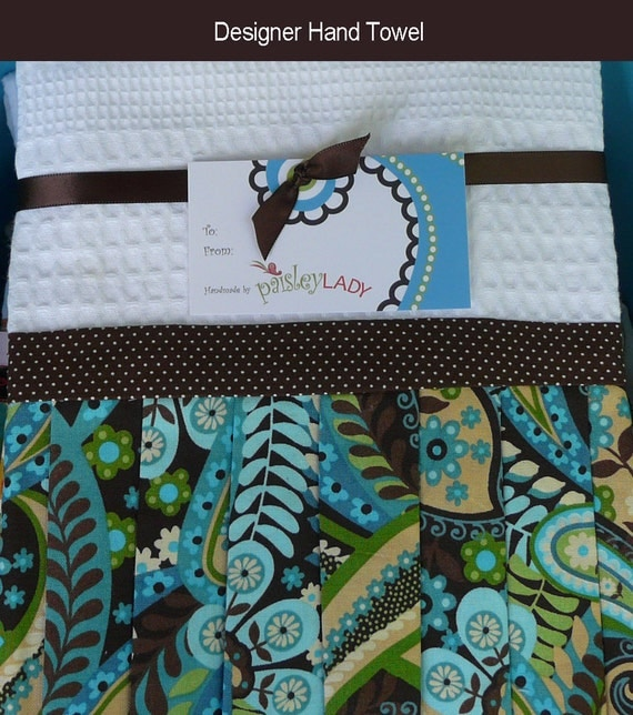 Turquoise Paisley Towel Brown and White by PaisleyLadyBoutique