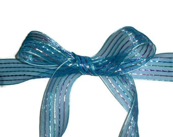 "Blue with Strips Ribbon... 1.5"" X 10 yards"