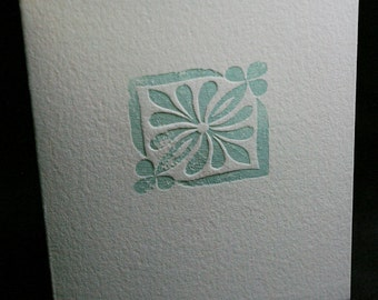 Six (6) Decorative Letterpress Notecards -- Hand-carved Detail (Blue)