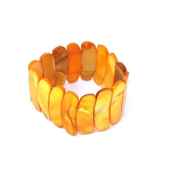 Mid Century Jewelry Orange Yellow Bracelet  Abalone Bracelet   Vintage Art Deco Jewelry  Yellow Shell Stretch Wristlet