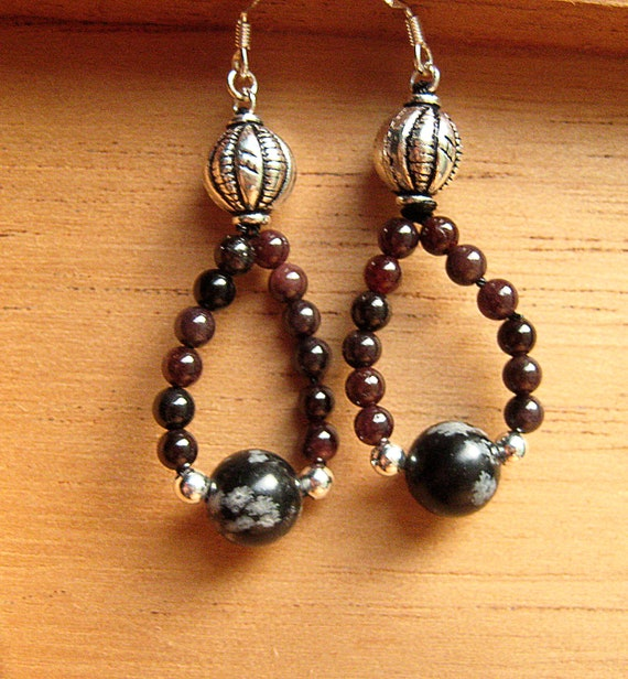 Obsidian garnet sterling silver drop one of a kind earrings