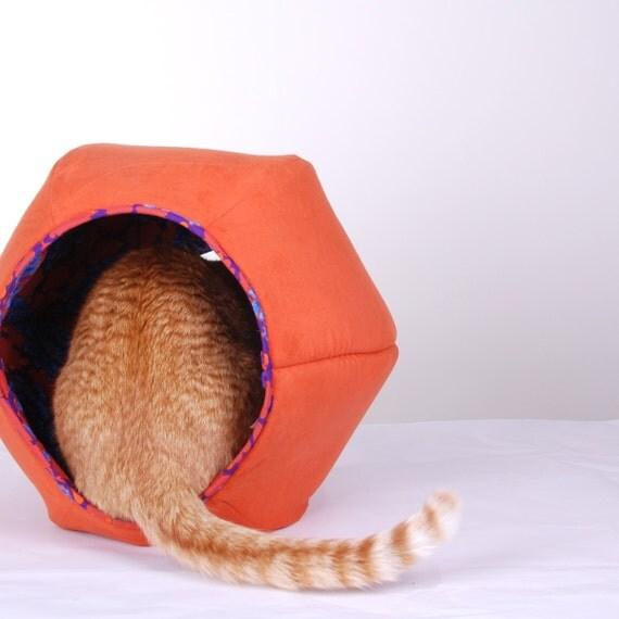 Cat Ball Modern Kitty Bed in Orange Microfiber