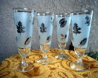Vintage Flutes MCM Platinum  Frosted  Glasses Silver Foliage Leaf Design Set of 4 Glassware 8""
