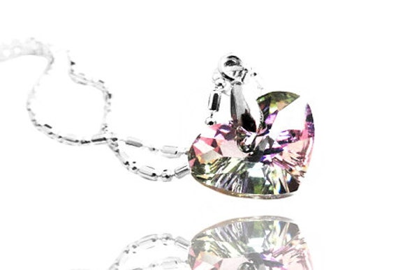 Swarovski Vitrail Light Heart Crystal Pendant Sterling Silver Necklace (Get 12% OFF with COUPON CODE for Special Sale)
