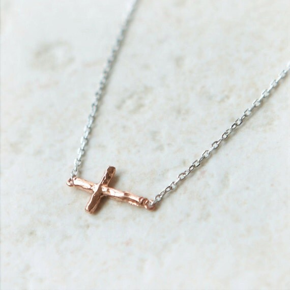 Tiny Copper Sideways Cross Necklace in sterling silver