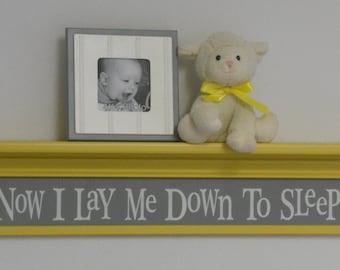 "Yellow Gray Baby Nurseries - Nursery Decorating Ideas Grey Yellow, Sign - Now I Lay Me Down To Sleep - 30"" Yellow Shelf"