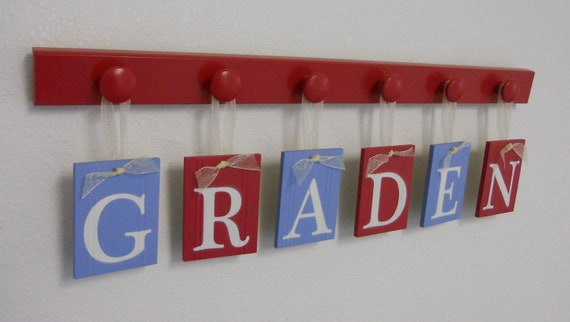 Names in Wood - Personalized Names - Wall Hangings Set for GRADEN Red and Soft Blue Letters with Matching 6 Wooden Pegs in Red