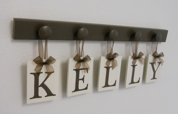 CUSTOM Family Name Sign Set Includes 5 Peg Wood Hooks in Chocolate Brown Personalized for KELLY