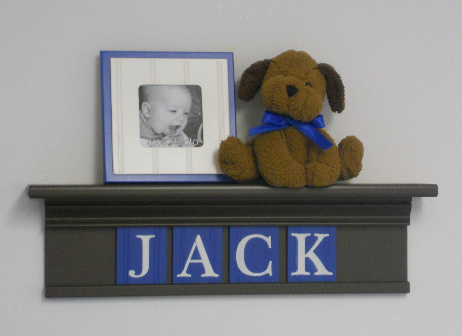 Baby boy nursery decor wall shelves name for jack by for Baby name nursery decoration