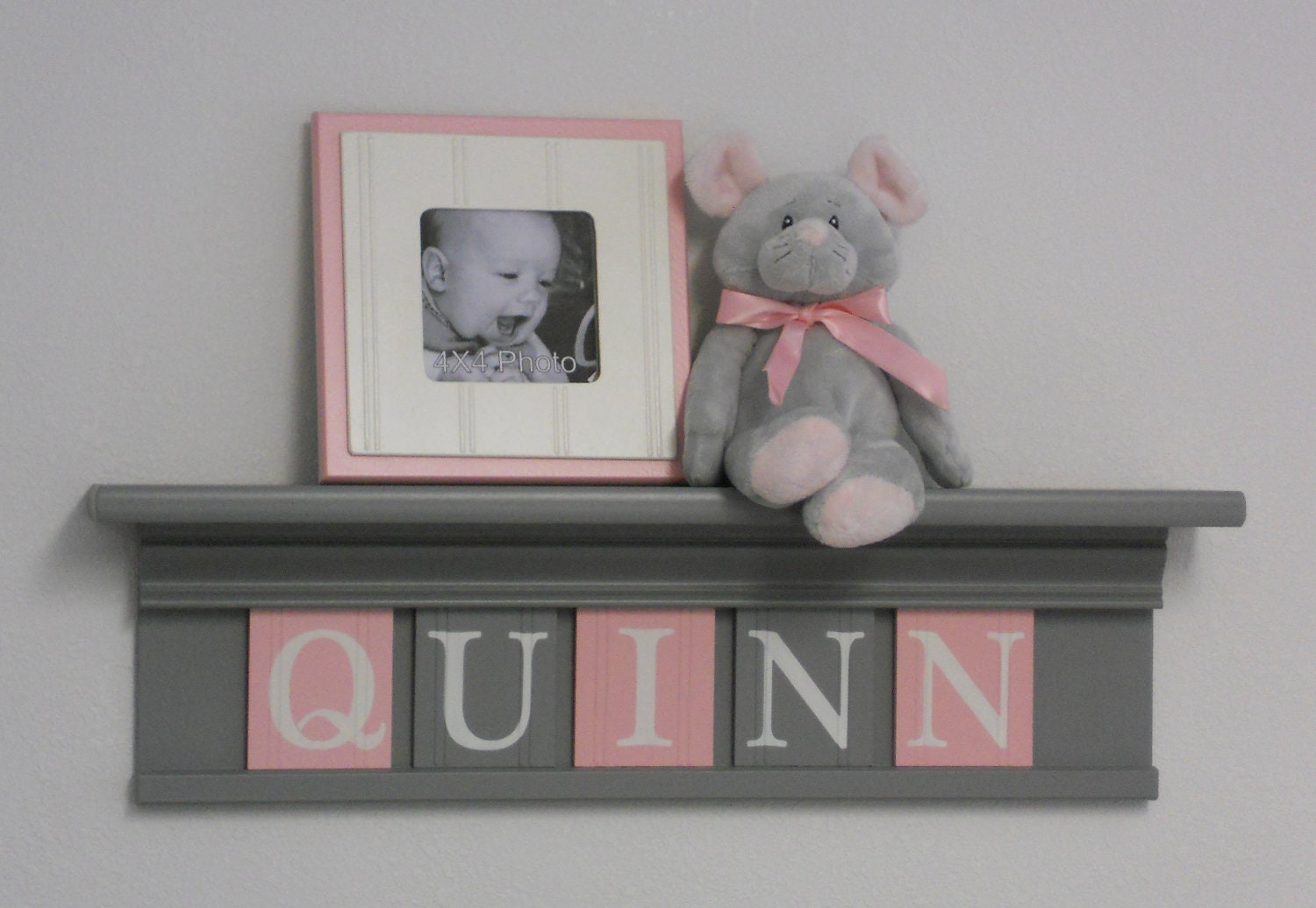gray and pink baby girl nursery decor grey shelf with light. Black Bedroom Furniture Sets. Home Design Ideas