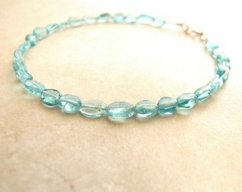 Apatite Bracelet, Gemstone Bracelet, Crystal Bracelet, Aqua Gemstone, Aqua Crystal