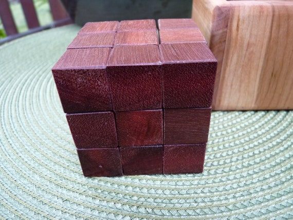 Handcrafted Wooden Soma Cube Puzzle in Brazilian Redwood