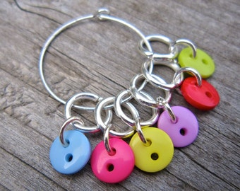 Small Button Stitch Markers, cute and colourful