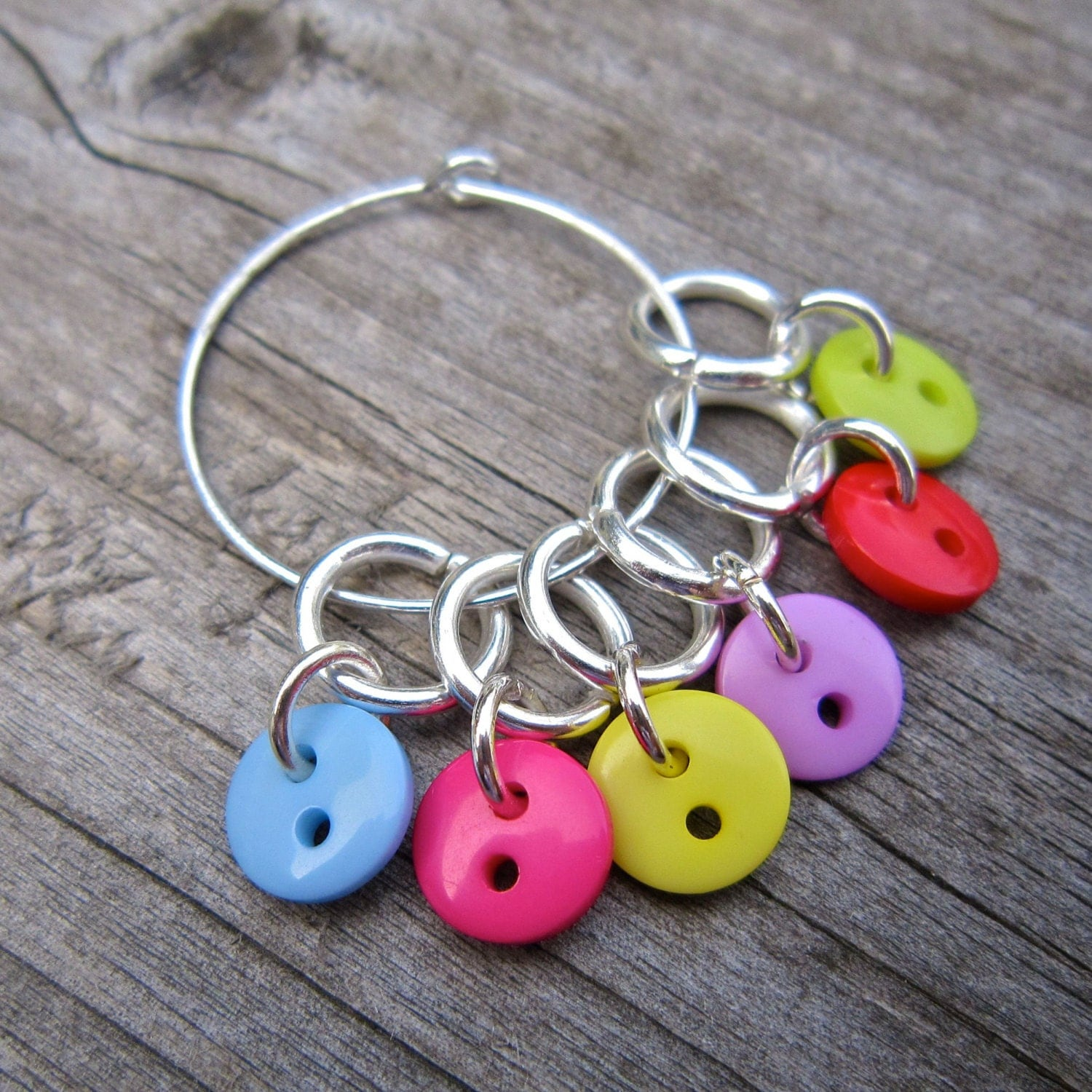 Knitting Markers Etsy : Button stitch markers cute and colourful from
