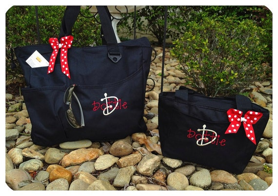 Personalized Shoulder Bag and Lunch Tote Set  Great for School Pick your Color and Design  Embroidery Name or Monogram