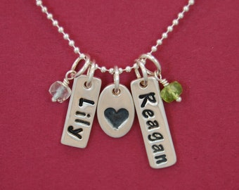 Double Custom Name Necklace With Heart & Birthstone - Two Names