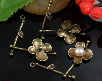 4pcs Brass Flower Branch Charm
