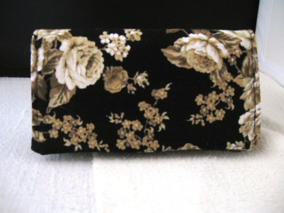 Checkbook Cover Black and Brown Floral Fabric Checkbook Cover