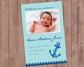 Anchor Birth Announcement - Customized Digital File - Printable