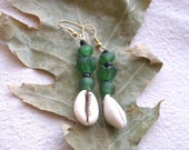 African Cowrie shell and green recycled glass Earrings by Fianaturals