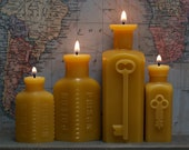 Set of Four Bottle-Shaped Beeswax Candles - As seen in Country Living Gift Guide - Two Key - Two Poison Bottles