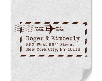 Personalized Address Stamp - Custom Stamp - Airmail - DIY Printing - Typewriter Text - Housewarming - Original Design - International Mail