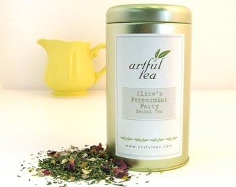 Alice's Peppermint Party Herbal Tea • 2.5 oz. Tin • Loose Leaf Blend • Mint, Ginger, Apple, Almond & Rose