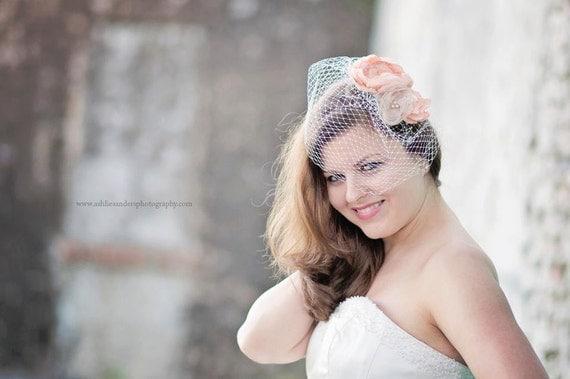 Peach Bridal Hair Veil, Peach Fascinator, Peach Floral Fascinator with Birdcage Blusher Veil, Peach Bridal Flowers, Peach Wedding