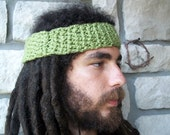 Green Organic Cotton Headband / natural eco friendly mens or womens hippie headband sweatband