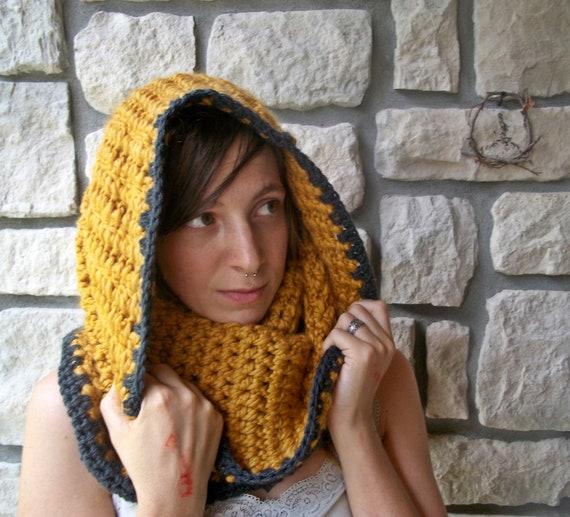 Mustard Yellow Cowl / Crochet Wool Blend Scarf / Winter Accessories