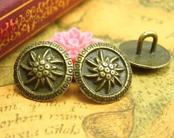 20 pcs Vintage Metal Buttons 14x14mm CH1237