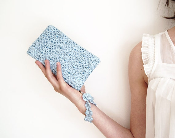 Icy Blue Rectangular Crochet Clutch Bag