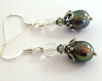 Black pearl crystal earrings, Sterling Silver, freshwater pearl, Austrian crystal grey pearl earrings, black pearl jewelry