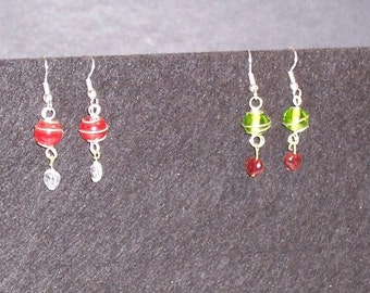 Christmas Holiday Colors Silver Wire Wrapped Bead Earrings & Small Heart Charm