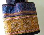 Tote Big Ethnic Unique Hmong Thai Asain Old Heavy Embroidered HandBag