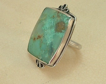 Ring Size 8 1/2 Sterling Silver Natural Chrysoprase Stone