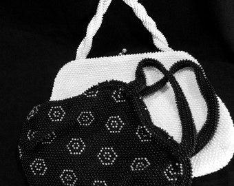 Vintage Beaded Bags Your Choice Black or White from 1950s Lumured Cordé