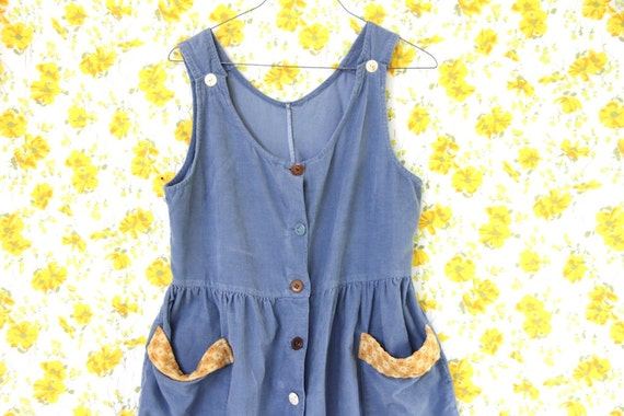90s blue corduroy babydoll dress