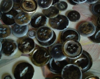 Alcohol Inked Black and Gold Hand Dyed Buttons Plastic and Mother of Pearl Buttons Lot of 25 Great for Cards Scrapbooking
