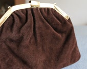 Vintage Brown Suede Clutch with Gold Metal Chain and Clasp  Nice