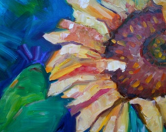 Sunflower Painting Original Abstract Impressionism Oil Flower Art Still Life Modern Contempory Style