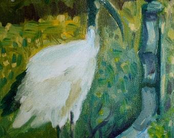 Painting Landscape - Oil Painting Bird - Original Oil Painting - Small Painting - fine art home decor - wall art