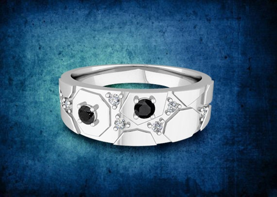Geometric Mens Wedding Band 14k White Gold Band with Black and White Diamonds - Save Extra 20%, Use Code: LOVE20