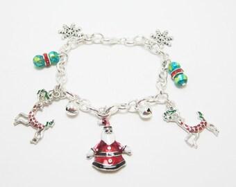 Santa Reindeer Christmas Charm Bracelet 18k White Gold Plate Enamel Charms