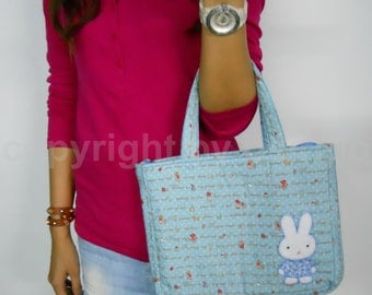 Rabbit Quilt Blue bag, Bunny bag, Cotton bag, Ipad bag, Macbook bag, Tablet bag, Shopping bag, Quilt Handbags