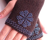 Hand knitted soft pure merino wool beaded fingerless gloves, wrist warmers in dark brown with shiny blue glass beads - READY to ship
